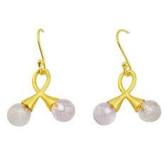 7.66cts natural pink rose quartz 925 silver 14k gold dangle earrings p58481