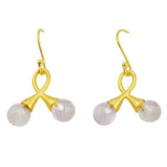 8.12cts natural pink rose quartz 925 silver 14k gold dangle earrings p58483