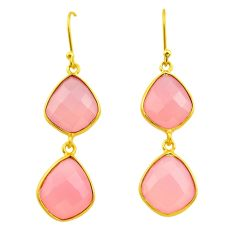 22.05cts natural pink rose quartz 925 silver 14k gold dangle earrings p75210