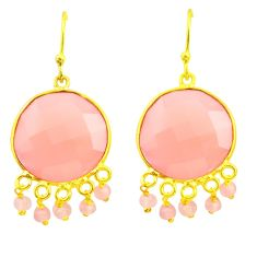 28.87cts natural pink rose quartz 925 silver 14k gold dangle earrings p75349
