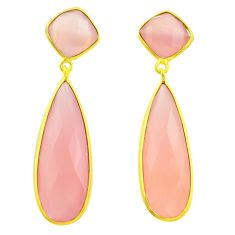 36.68cts natural pink rose quartz 925 silver 14k gold dangle earrings p75374