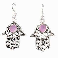 2.12cts natural pink rose quartz 925 silver hand of god hamsa earrings c5526