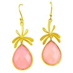 22.48cts natural pink rose quartz 925 sterling silver 14k gold earrings p91265