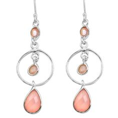 7.25cts natural pink rose quartz 925 sterling silver dangle earrings p77365