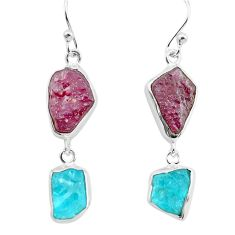 15.55cts natural pink ruby rough apatite rough 925 silver dangle earrings p73842