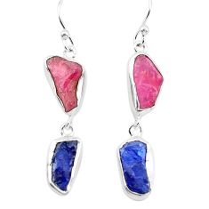 14.14cts natural pink ruby rough sapphire rough 925 silver earrings p73863