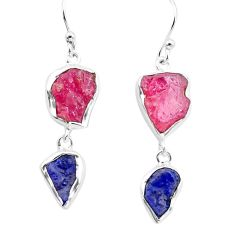 15.02cts natural pink ruby rough sapphire rough 925 silver earrings p73876