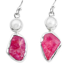 13.77cts natural pink ruby rough white pearl 925 silver dangle earrings p51691