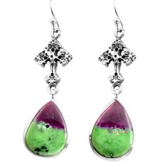 17.57cts natural pink ruby zoisite 925 silver holy cross earrings p72568