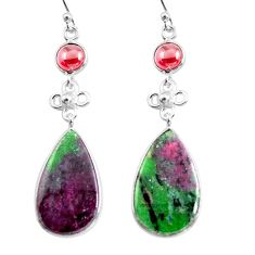19.76cts natural pink ruby zoisite garnet 925 silver dangle earrings p78717