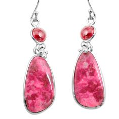 23.45cts natural pink thulite (unionite, pink zoisite) silver earrings p78596