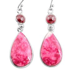 21.01cts natural pink thulite (unionite, pink zoisite) silver earrings p78621