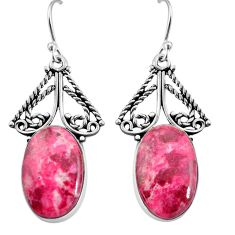 19.82cts natural pink thulite (unionite, pink zoisite) silver earrings p91946
