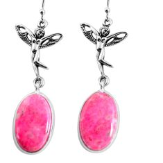 20.94cts natural pink thulite 925 silver angel wings fairy earrings p91852