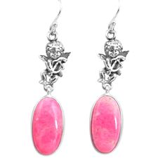 17.57cts natural pink thulite 925 silver cupid angel wings earrings p72556