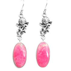 15.08cts natural pink thulite 925 silver cupid angel wings earrings p72557