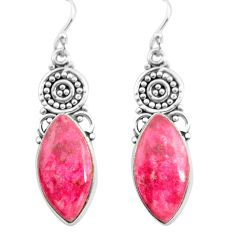 18.70cts natural pink thulite 925 silver dangle earrings jewelry p72624