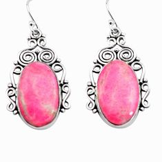 20.86cts natural pink thulite 925 silver dangle earrings jewelry p72641