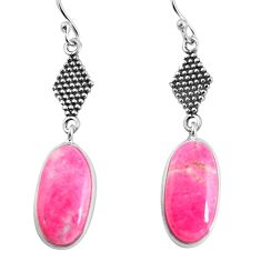 14.73cts natural pink thulite 925 silver dangle earrings jewelry p91850