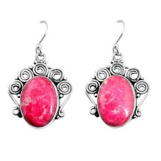 19.53cts natural pink thulite 925 silver dangle earrings jewelry p91944