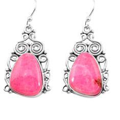 18.54cts natural pink thulite 925 sterling silver dangle earrings jewelry p72625
