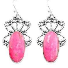 20.86cts natural pink thulite 925 sterling silver dangle earrings jewelry p72643