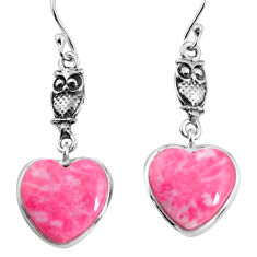 14.06cts natural pink thulite heart 925 silver owl earrings jewelry p91841