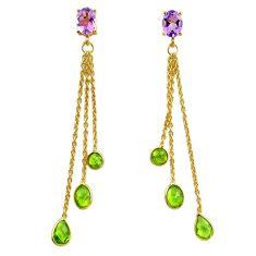 10.53cts natural purple amethyst 925 silver 14k gold chandelier earrings p87472