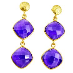 21.08cts natural purple amethyst 925 silver 14k gold dangle earrings p43542