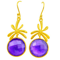 21.53cts natural purple amethyst 925 silver 14k gold dangle earrings p50013