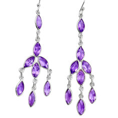 12.99cts natural purple amethyst 925 silver 14k gold dangle earrings p60663