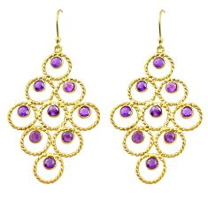 10.47cts natural purple amethyst 925 silver 14k gold dangle earrings p75455