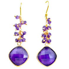 22.05cts natural purple amethyst 925 silver 14k gold dangle earrings p75669