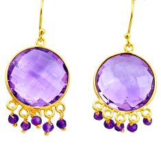 25.25cts natural purple amethyst 925 silver 14k gold dangle earrings p75683