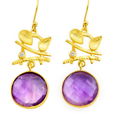 18.73cts natural purple amethyst 925 silver 14k gold dangle earrings p75722