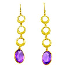 11.51cts natural purple amethyst 925 silver 14k gold dangle earrings p87306