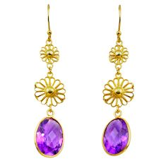 10.05cts natural purple amethyst 925 silver 14k gold dangle earrings p87321