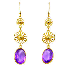 10.58cts natural purple amethyst 925 silver 14k gold dangle earrings p87323