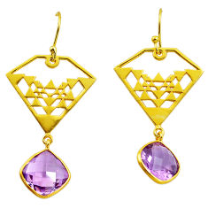 11.23cts natural purple amethyst 925 silver 14k gold dangle earrings p87408