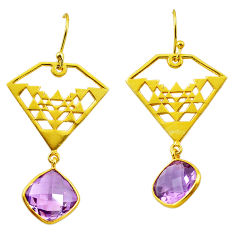 11.09cts natural purple amethyst 925 silver 14k gold dangle earrings p87490