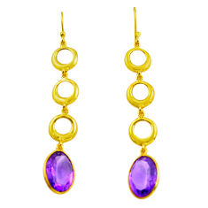11.98cts natural purple amethyst 925 silver 14k gold dangle earrings p87496