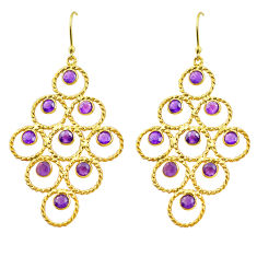7.38cts natural purple amethyst 925 silver 14k gold dangle earrings p88505