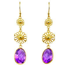 9.25cts natural purple amethyst 925 silver 14k gold dangle earrings p91281