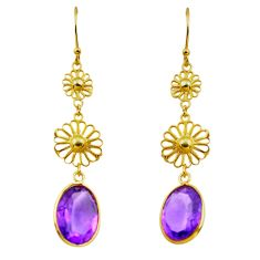 10.30cts natural purple amethyst 925 silver 14k gold dangle earrings p91283