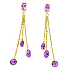11.73cts natural purple amethyst 925 silver 14k gold dangle earrings p91297