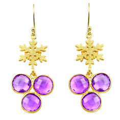 14.78cts natural purple amethyst 925 silver 14k gold snowflake earrings p87367