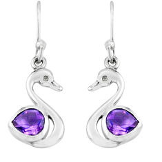 2.50cts natural purple amethyst 925 silver dangle duck charm earrings p62570