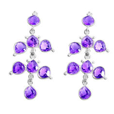 13.69cts natural purple amethyst 925 sterling silver chandelier earrings p43881