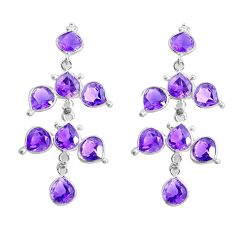 13.13cts natural purple amethyst 925 sterling silver chandelier earrings p43882