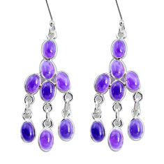 15.89cts natural purple amethyst 925 sterling silver chandelier earrings p60566
